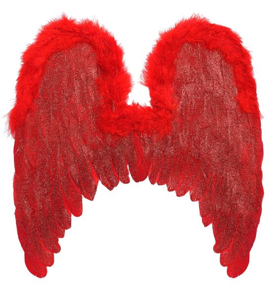 RED FEATHERED WINGS TRIM & GLITTER 46x49cm Accessory Halloween Fancy Dress